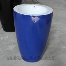 multicolor one piece blue pedestal basin