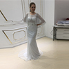 Silver Prom Dress Sequin Shiny Long Ladies Party Wear Gowns With Puffy Sleeves