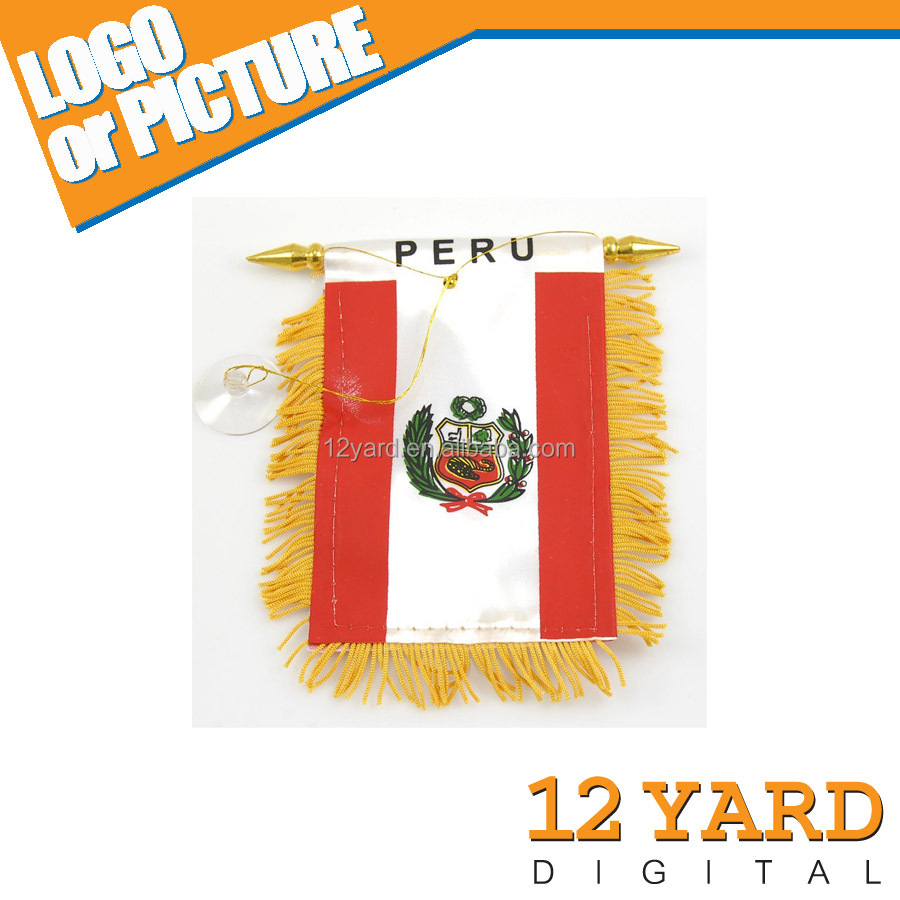 decorative promotional string pennant digital printed PERU national flag &mini soccer team pennant