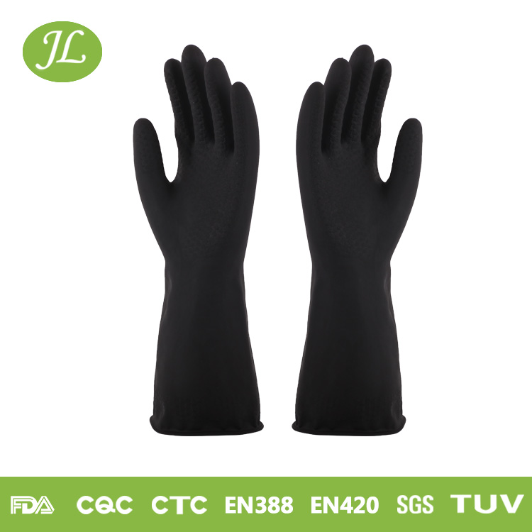Wholesale industrial handjob cutting cotton lined rubber gloves