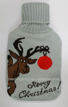 2014 NEW merry christmas hot water bottle with cover