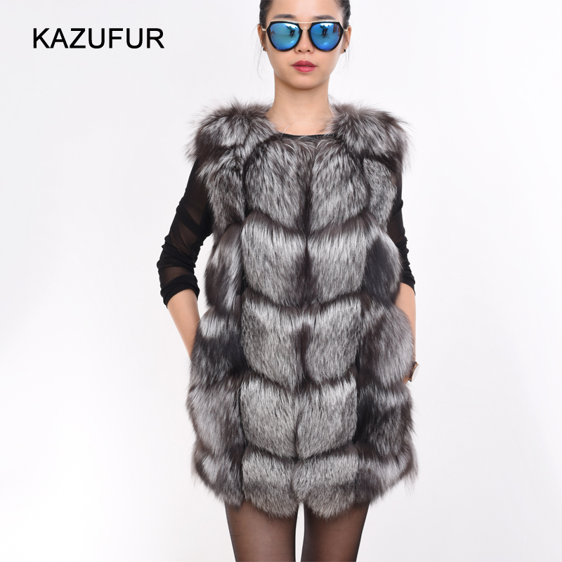 KZ160169 Women warm silver fox cheap fur vests