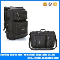 15 inches Black nylon shoulder business travel functional laptop backpack bag with long strap