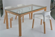 mdoern table wooden dining table with glass top designs