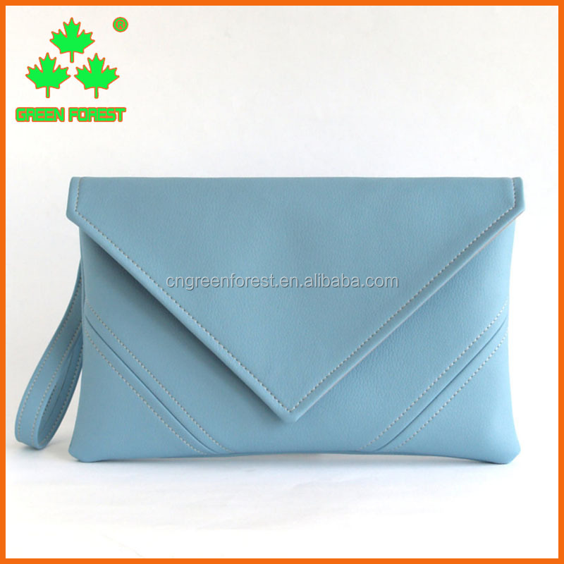 gift purse sky blue vegan leather wristlet clutch bag