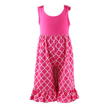 2017 new style little girls cotton pink pattern sleeveless best selling romper