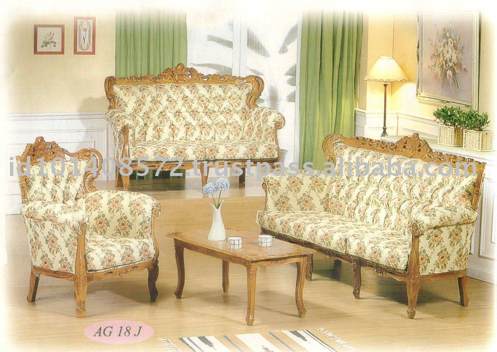 Teak Sofa Set Classic Design Romawi Citra Mawar 1 Indoor Furniture.