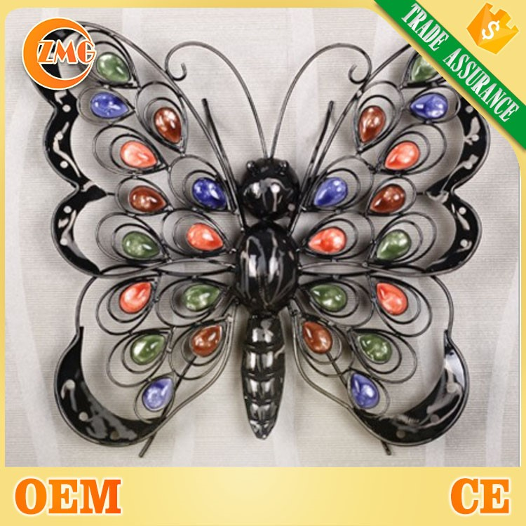 cheap colorful antique metal butterfly wall decoration wholesale