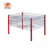 Foldable square metal wire mesh retail display storage dump bin