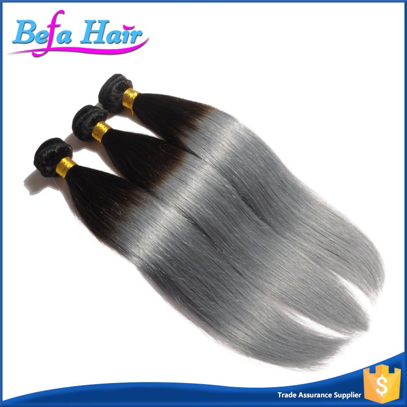 Unprocessed no shedding no tangle virgin peruvian grey straight human hair ombre hair extensions