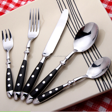 Three wooden rivet black handle cutlery mirro polish silversmiths flatware set