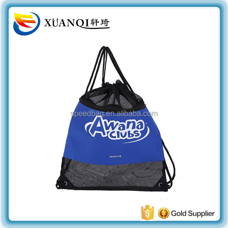 factory customize eco-friendly beach mesh drawstring backpack bag