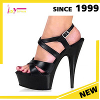 Wholesale Ladies Black High Heels Shoes Women Sandals Sexy Cross Straps Platform Shoes