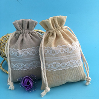 "3""x4""Linen Hemp Gift Pouch Bag with White Lace Wedding Party Gift Favor Bags"