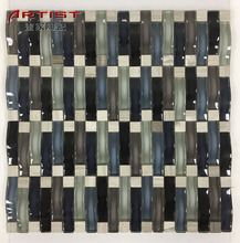 Hot sale high quality bathroom wavy floor phoenix tail glass mosaic