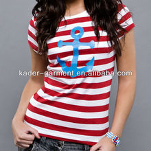red white stripe t-shirt for ladies with anchor pattern