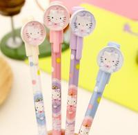 diy creative stationery kids personalized Novelty gel pen with cute cartoon hello kitty cap logo sign pen slim ball point pen