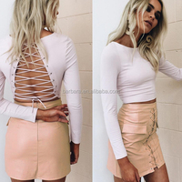 2016 Wholesale stunning white top long sleeve backless girls two pieces set dress
