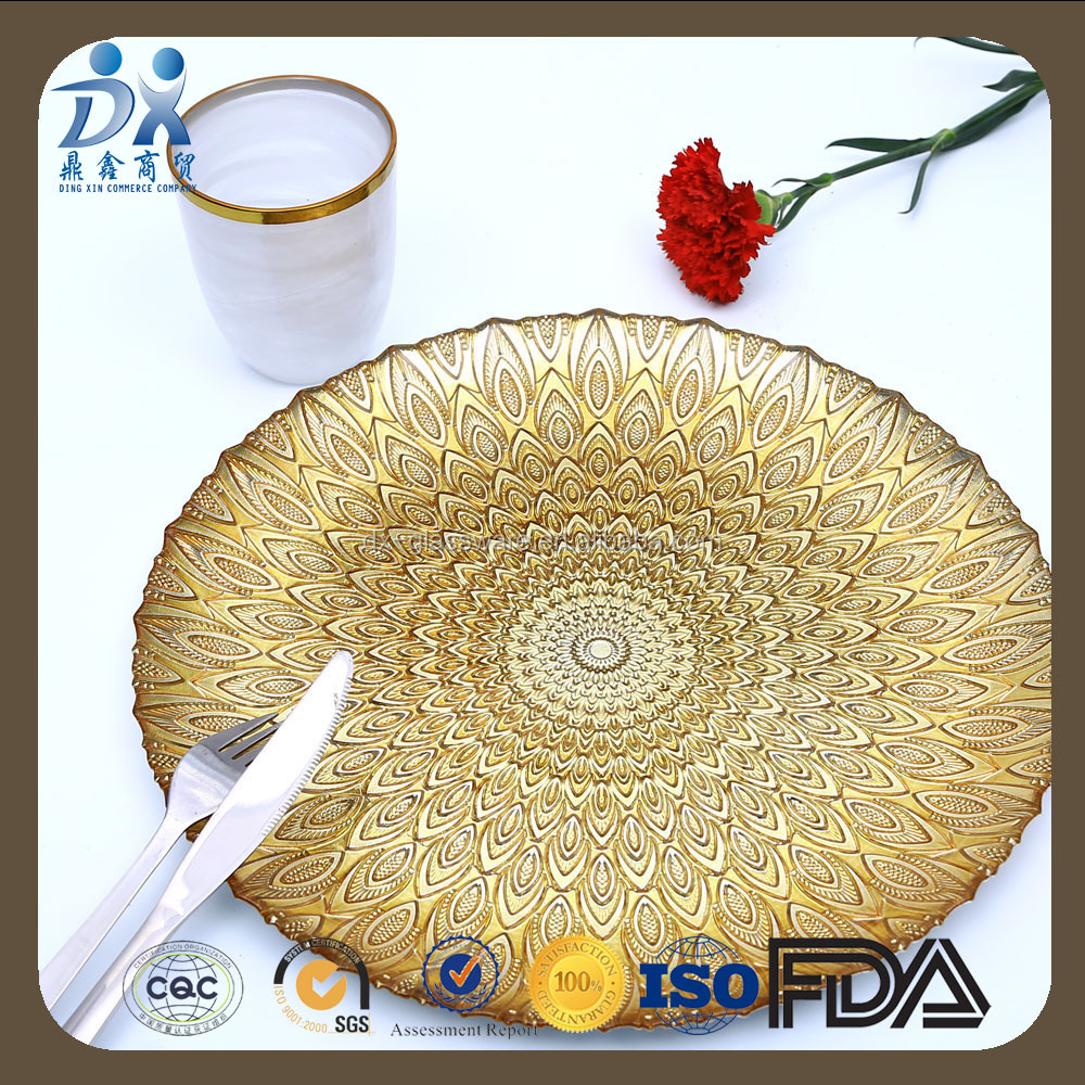 2017 new designed Gold Color Peacock glass charger plates