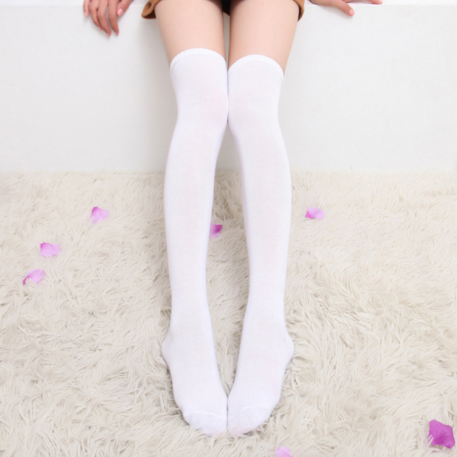 New Autumn Hot Sale Lady Cute Solid Color Poly Cotton Thigh High Stockings