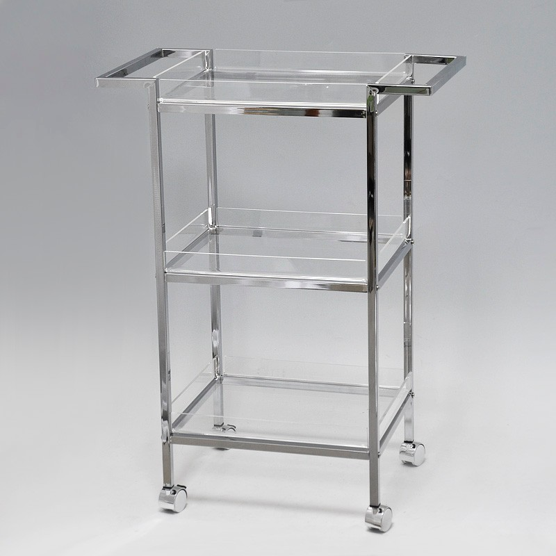 Simple Design 3 Tiered Clear Plastic Kitchen Serving 4 Wheel Trolley