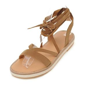 76dcc623bd295 Super Cheap Women Flat Sandals Ankle Ribbon Strap Summer Shoes Large Size  Simple Fashion Design Sweet