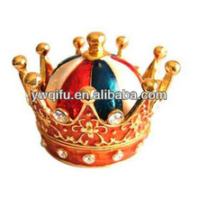 New design promotional gifts mini christmas crown wedding gifts metal jewelry trinket box (QF800)