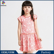 2015 Summer Puff Sleeve Flowers Pleated Pink/Green Kids Clothes Floral Cotton Printed Pakistani Frocks Style