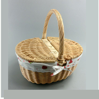 Liuqing Natural material wicker antique color for four person set picnic willow basket