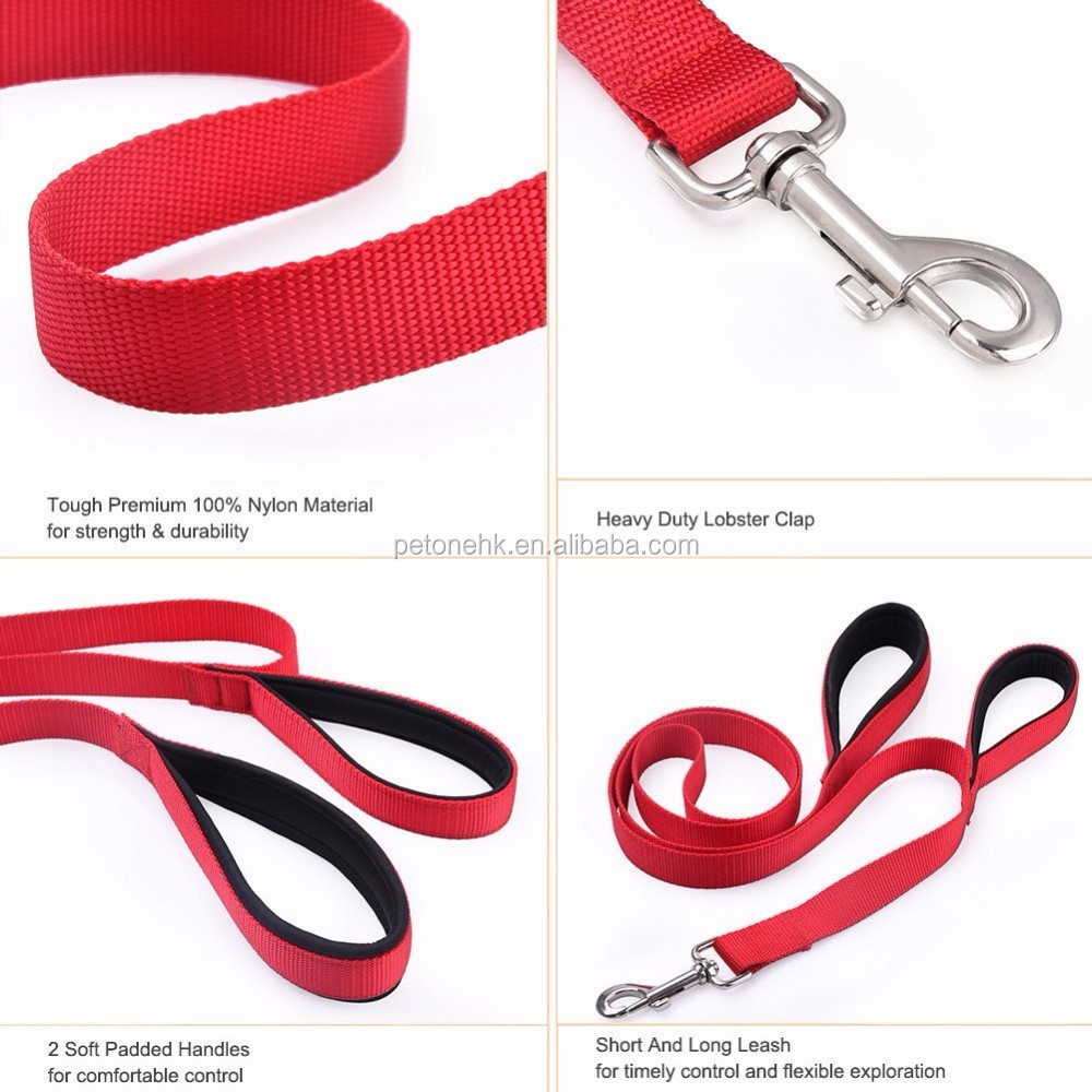 Nylon Dog Leash Extra Long 6ft Lead with 2 Dual Traffic Padded Handle Pet Leash