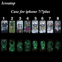 2016 Skull phone case for iphone 7 case, halloween mobile case, PC Luminous cellphone cover for iphone 7 plus case