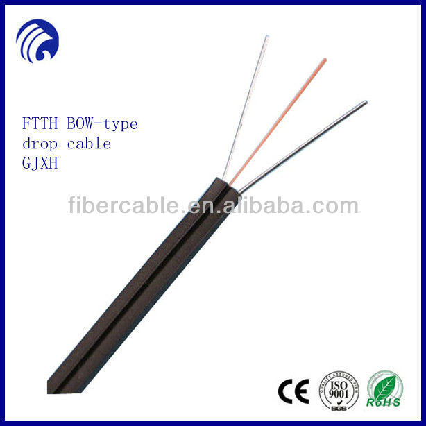 Supply FTTH flat fiber drop cable GJXH and offer OEM service