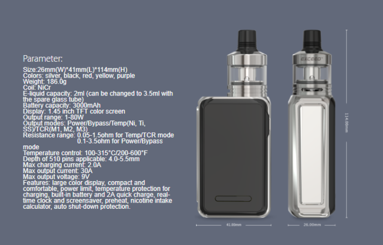 Hot Sale Vaporizer Express Tank 1.45 inch TFT Color Screen Vape Mod Joyetech CUBOID Lite with Exceed D22 Kit
