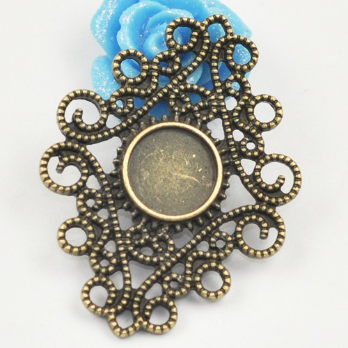 Wholesale Vintage Antique Bronze Bezel Lace style Blank filigree pendant trays for resin cabochon