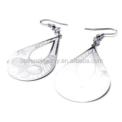 Cheap Drop design silk printing color stainless steel earring