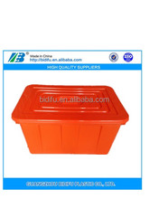 Stackable & Nestable 90L Plastic Crate attached Lid for Water Storage or Moving Platic Container China manufacturer