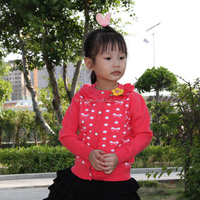 New fashion korean style 100% cotton children girl knitted cardigan wool sweater design for girl