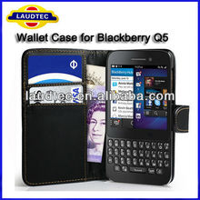 Credit Card Leather Wallet Case for Blackberry Q5, flip case cover for Blackberry Q5----Shenzhen Laudtec
