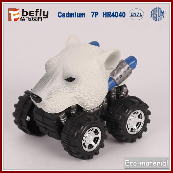 Plastic polar bear pull back car for kids play
