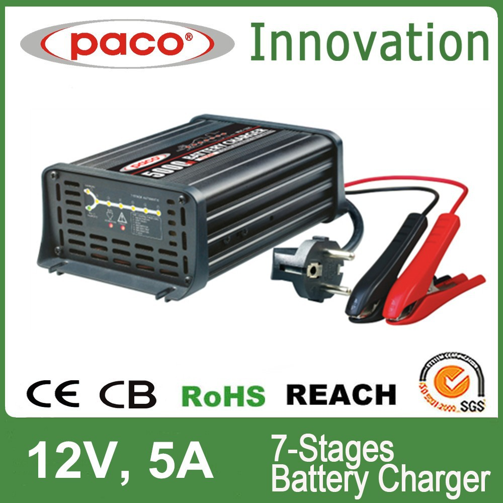 Car battery charger 12V 24V 36V 48V 5A,7 stage automatic charging with CE,CB,RoHS certificate
