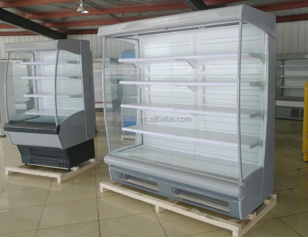 Supermarket air curtain open display showcase beverage refrigerator