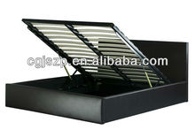 2013-New design shiny black pneumatic pu bed with storage bed base