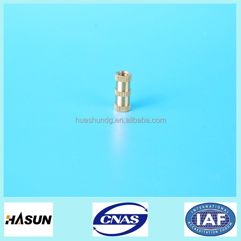 Customized copper/brass knurled insert nuts for valve parts,brass cnc machining parts