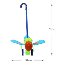 new design product plastic flashing hand-push birds with sound flashing hand-push anmail toys for kids