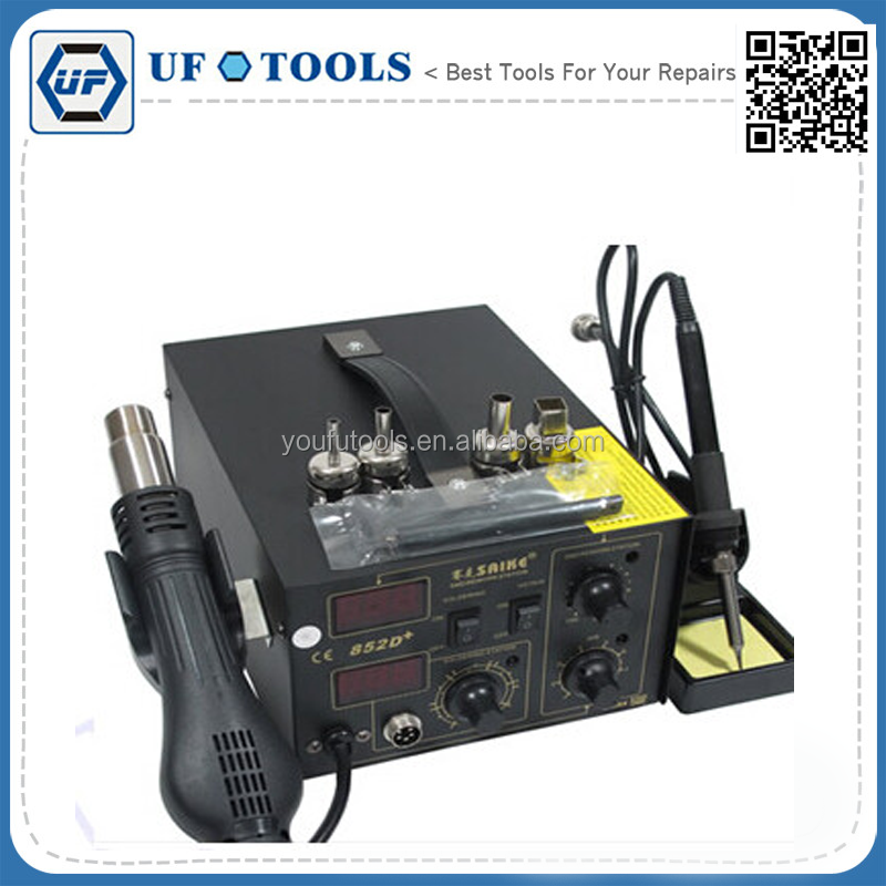 wholesale SAIKE 852D 220V Iron Solder Soldering Hot Air Gun 2 in 1 Rework Station with accessories solder wire gloves tweezers