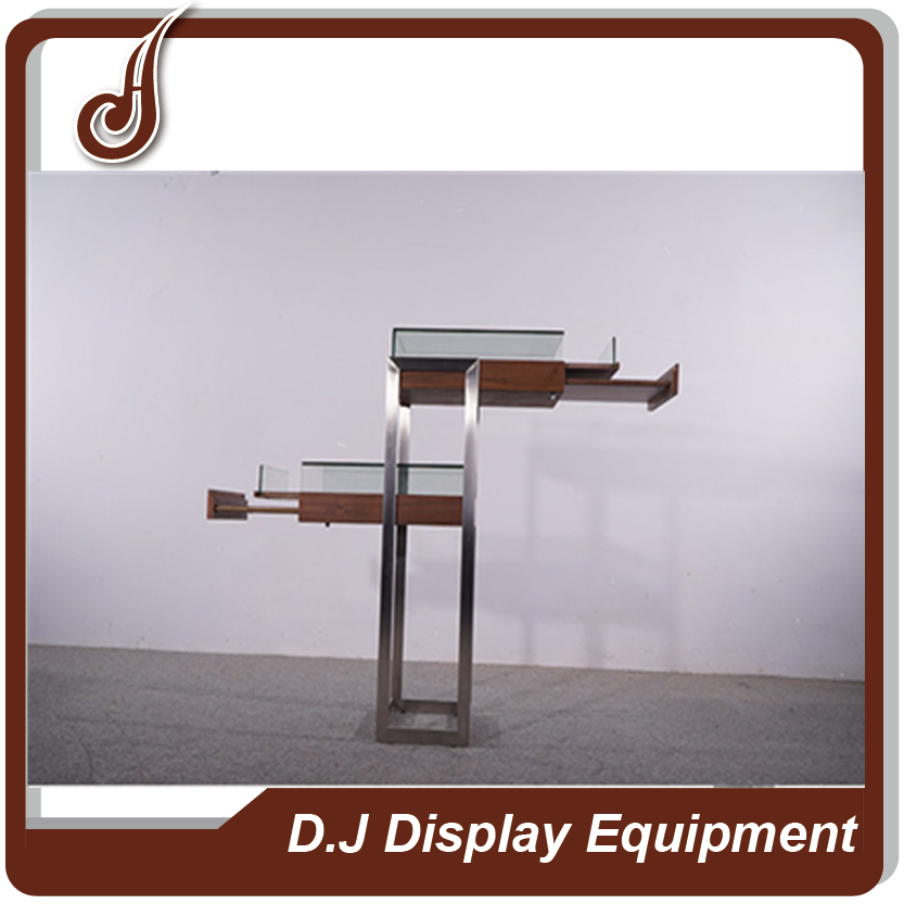 Fashion design customized size FR-MDF PD and stainless steel material glasses display showcase