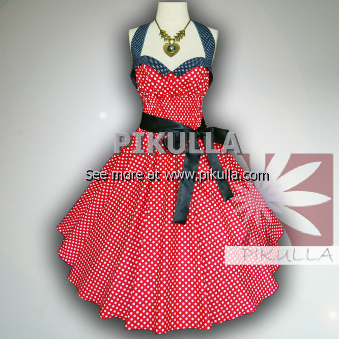 Bunny Red & White Polka Dot 50s Pin up Rockabilly Swing Dress