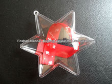 Wholesale clear plastic star shape ball Christmas ornaments