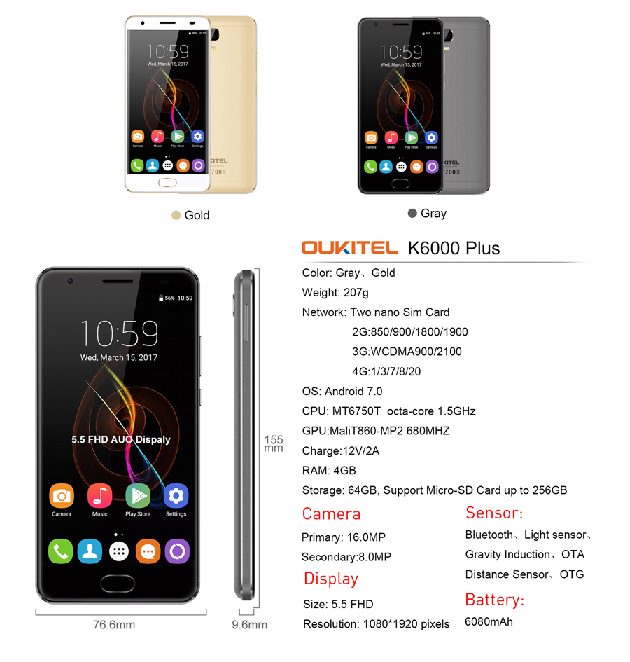 "OUKITEL K6000 plus 6080mAh Battery quick charge 4G Smartphone MTK6750T Octa Core Android 7.0 4GB+64GB 16MP Cam 5.5"" Mobile Phone"