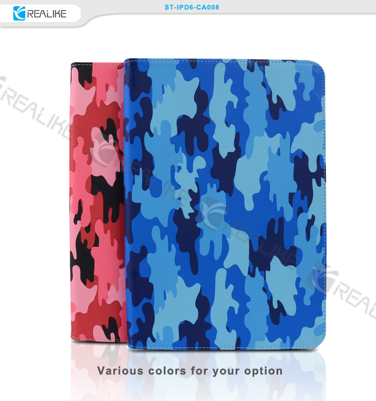 High quality camouflage design durable pu leather shockproof soft case for ipad air 2